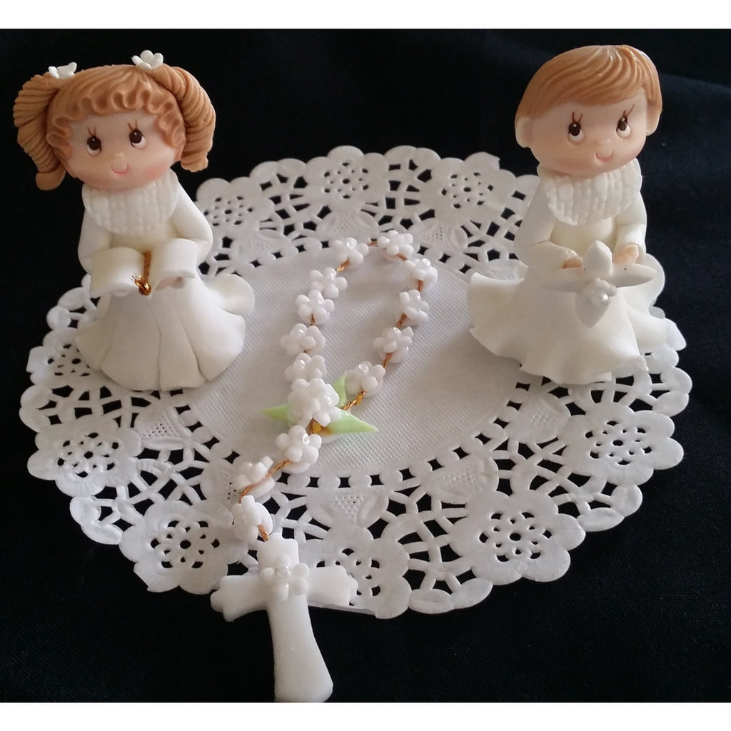 First Communion & Baptism Cake Decorations Chlid and Rosary Communion Cake Topper 2pcs - Cake Toppers Boutique
