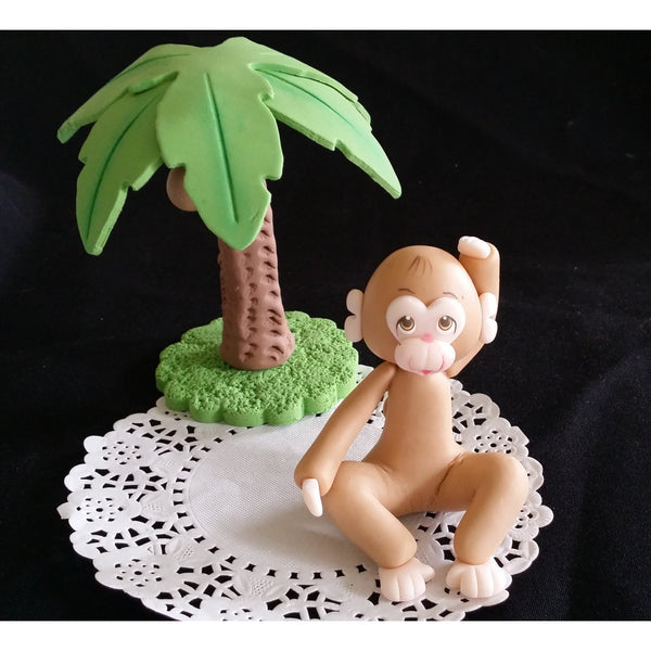 Monkey Cake Topper, Jungle Cake Decoration, Baby Monkey, Jungle Monkey Birthday Decoration - Cake Toppers Boutique