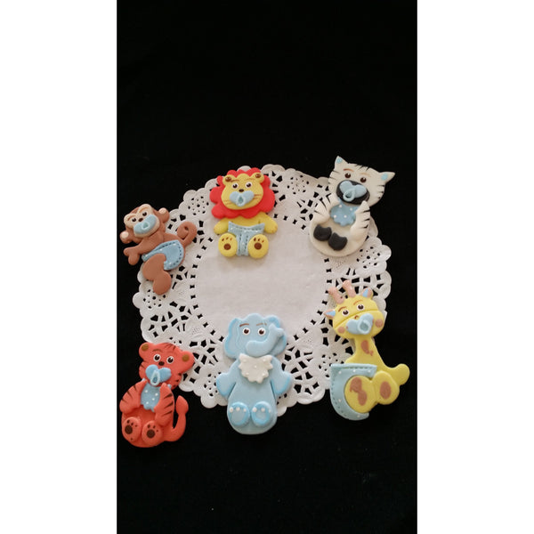 Elephant Giraffe Monkey Zebra Tiger Lion Cupcake Topper Baby Animals Cake Decoration Blue or Pink - Cake Toppers Boutique