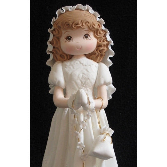First Communion Girl or Boy Cake Topper, Girl W White Dress Rosary Purse Boy W Bibble - Cake Toppers Boutique