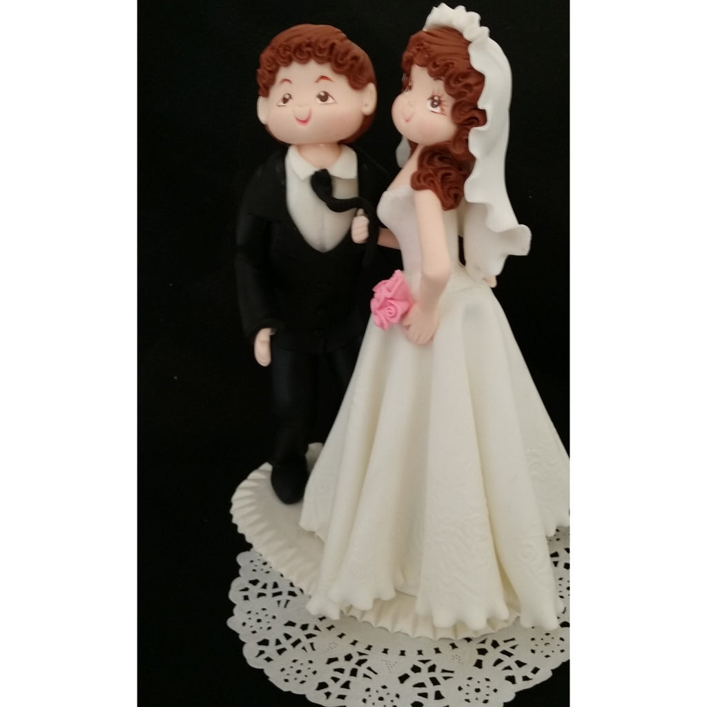 Wedding Cake Topper Bride And Groom All White