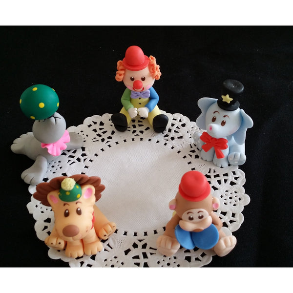 Circus Set with Clown, lion, Elephant and Monkey Circus Clown Party Decorations 5pcs - Cake Toppers Boutique