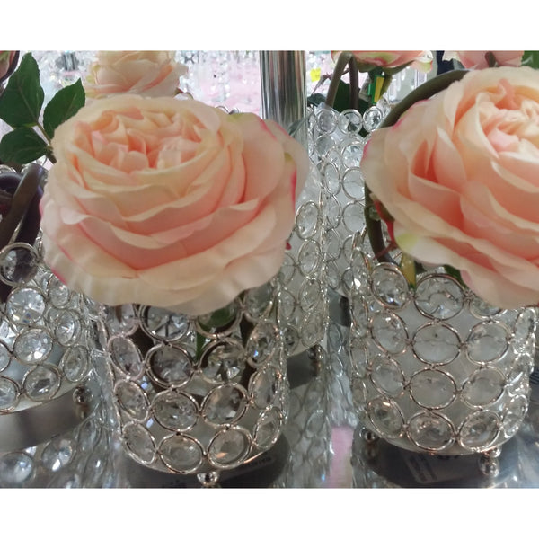 Crystal Candle Holders Wedding Decoration, Crystal Table Decoration, Silver Candle Holder, Silver Wedding Decoration, Crystal Vase - Cake Toppers Boutique