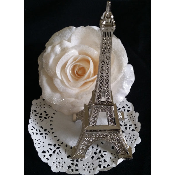 Wedding Cake Topper Antique Look Silver Eiffel Tower Decoration - Cake Toppers Boutique