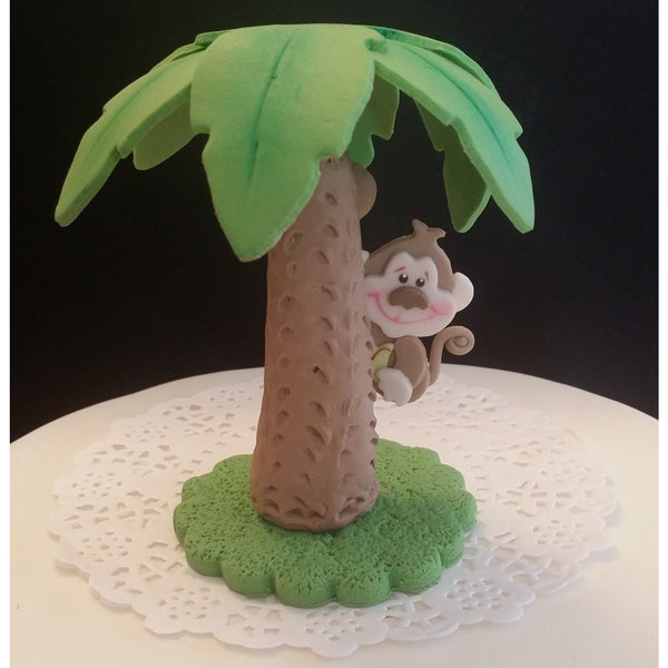 Jungle Safari Birthday & Baby Shower Decorations Palm Tree W Baby Monkey Cake Topper - Cake Toppers Boutique