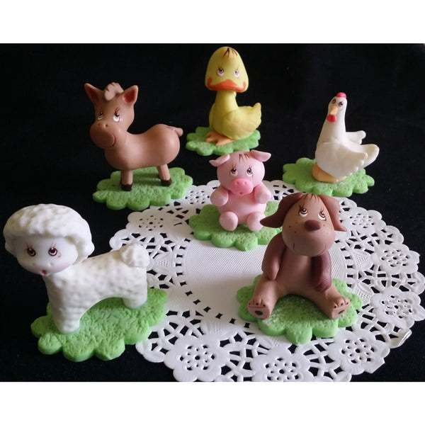Farm Animals For Cake Decorations Farm Baby Shower Animals Red Farm Birthday Theme 6pcs - Cake Toppers Boutique