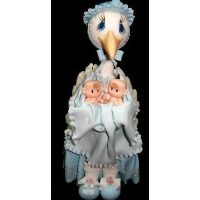 Mommy Stork with Twins Babies Cake Topper Baby Shower Stork in Blue White or Pink - Cake Toppers Boutique