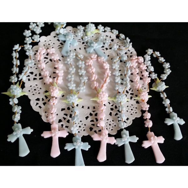 Girls Baptism Favors, Boys Baptism favor, Baby Girl Baptism, Baptism Decorations, White Mini Rosaries Favor, Blue Rosaries, Pink Mini Rosary - Cake Toppers Boutique