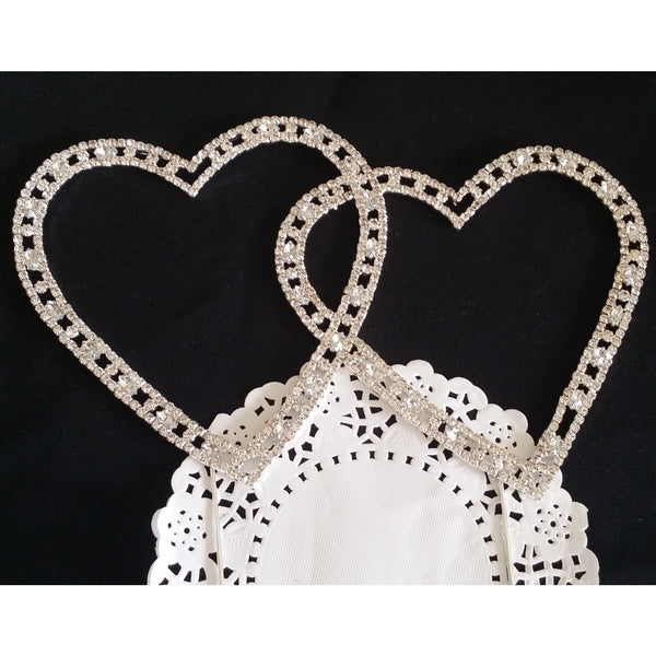Wedding Rhinestone Heart Cake Topper Crystal Double Heart Cake Decoration Wedding Cake Topper - Cake Toppers Boutique