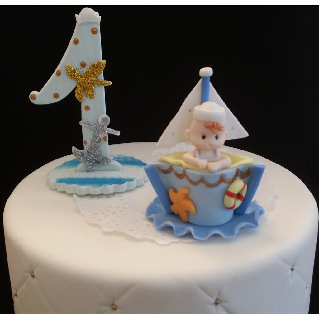 Nautical First Birthday Cake Topper Sailor Baby Centerpiece Nautical
