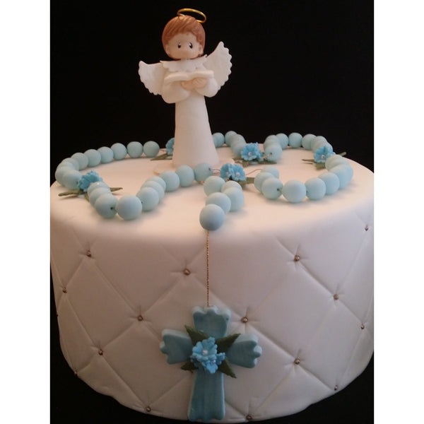 First Communion Boy Cake Topper Baptism Angel and Rosary Cake Decorations - Cake Toppers Boutique