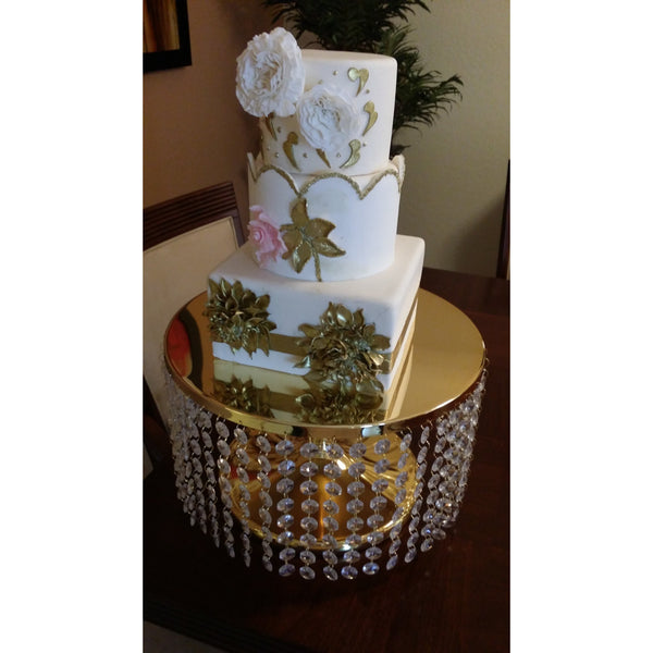 Wedding Cake Stand Crystal Cascade, 15'' Wedding Cake Stand, Gold or Silver Cake Stand, Wedding Decoration, Crystal Cupcake Stand Cake Stand - Cake Toppers Boutique