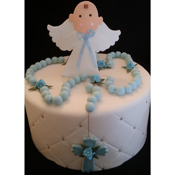 Angel and Rosary Cake Decorations Baptism Cake Topper First Communion Angel - Cake Toppers Boutique