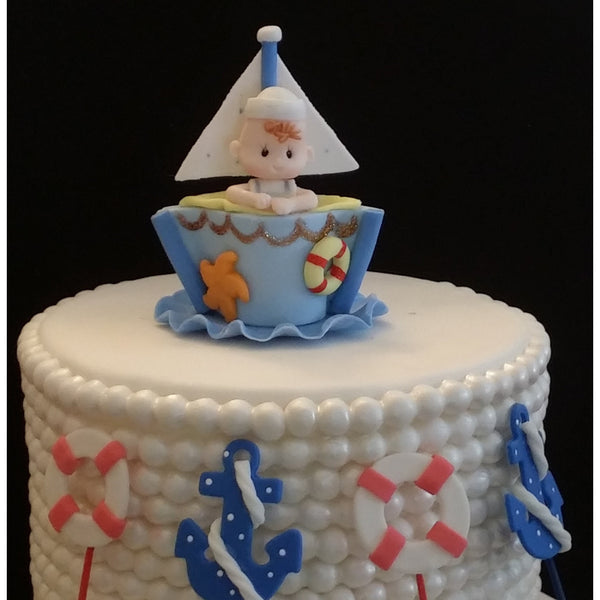Nautical Cake Decorations Sailor Baby Shower Nautical Birthday Theme 5pcs - Cake Toppers Boutique