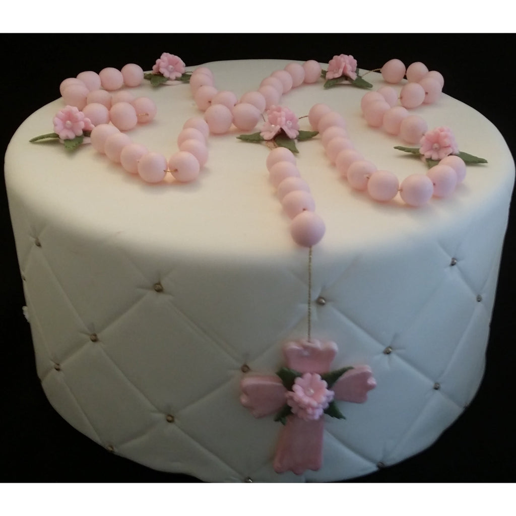 First Communion and Baptism Cake Toppe Rosary Cake ...