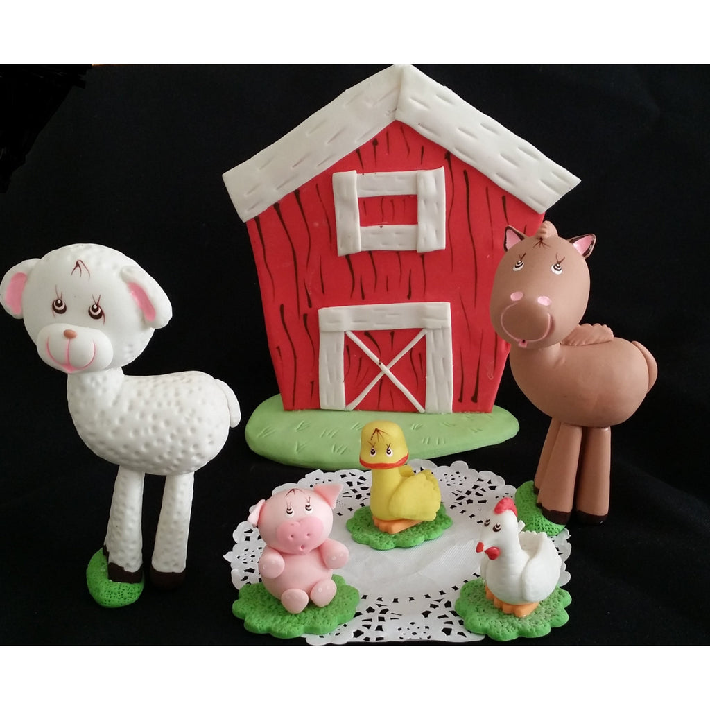 Red Farm House Birthday Cake Topper Barnyard Bash Decorations Farm Cute Animals 6pcs - Cake Toppers Boutique