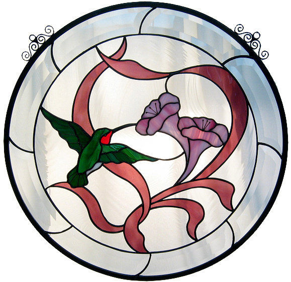KIT! HUMMINGBIRD ROUND PANEL Studio One Precut Glass PLEASE READ DESCRIPTION!