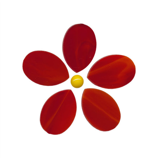 RED Fusible Precut Flower 96 COE Wispy Transparent-Semi Opaque 2 x 2 inches Spectrum System Mosaics