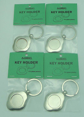 "FOUR KEY RING FINDINGS 1"" Display Fused Glass Cabachons Aanraku VALUE PACK"