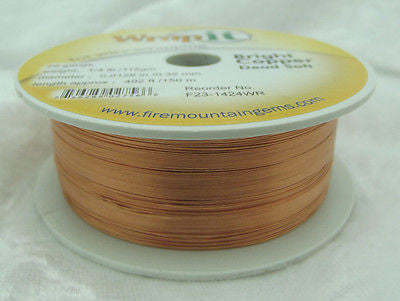 Wrapping Wire BRIGHT COPPER DEAD SOFT 28 GA 492 feet Wrap it Wrapit! Jewelry