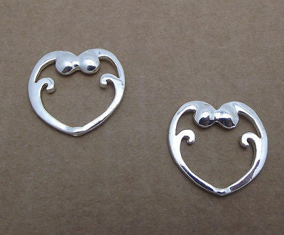 2 BEAD FRAMES silver-plated pewter 23.5x22.5mm HEARTS Very Nice Quality Finding