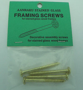 AANRAKU BRASS FRAMING SCREWS Decorative Hardware Stained Glass Supplies Pack 4