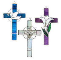 "CROSS TRIO KIT Best Seller Precut Glass Suncatcher Kit Studio One 5x9"" Christian"