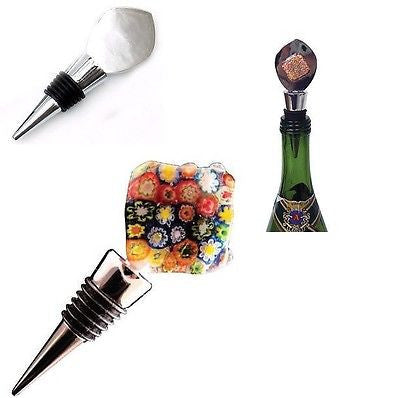 Stainless Steel AANRAKU FLAT TOP Wine Bottle Stopper FINDING Add  FUSED GLASS