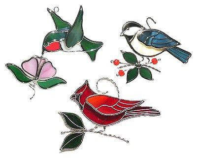 BIRD TRIO Chicadee Hummingbird Cardinal Precut Glass Suncatcher Kit Studio One