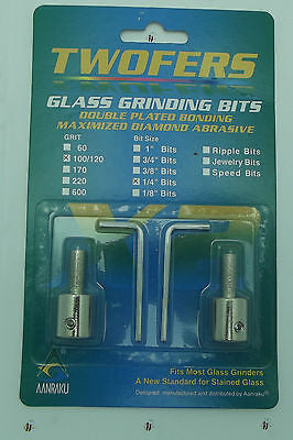 "Grinder Bit Diamond 1/4"" Twofers 2 Pack Standard Grit Fits MOST Inland Glastar"