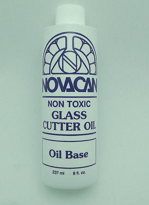 FULL SIZE NOVACAN Non Toxic CUTTER OIL Stained Glass Cutting 8 Oz Bottle
