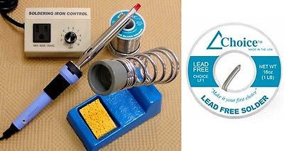 $108+ Value QUALITY Lead Free Solder SOLDERING KIT Includes IRON Rheostat STAND