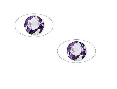 2 6.5mm ROUND PURPLE CZ for PMC Art Clay Silver Gold Projects CUBIC ZIRCONIA