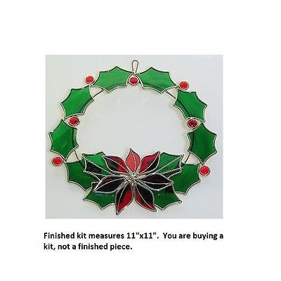 "Poinsettia Holly Wreath Kit Studio One 11"" x 11"" Precut Glass Pieces Christmas"