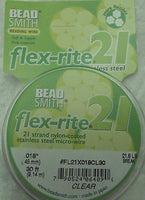 "Stainless Steel CLEAR .018"" 21 Strand 30' BEADSMITH FLEX-RITE Bead Wire FLEXRITE"
