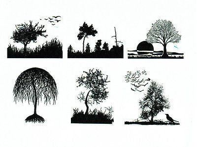 AAE FOREST SCENES Birds Trees Black Enamel Decals Glass Fusing Low Fire