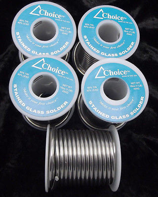 FIVE POUNDS 60/40 SOLDER Choice Brand 5 Spools Stained Glass Supplies Lead Tin