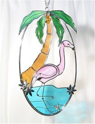"Kit Cute! FLAMINGO Pre-Cut Stained Glass  6x11"" Assembled Size Studio One 9041"