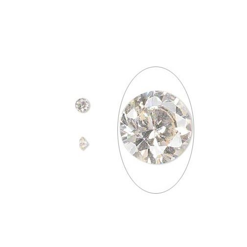 One Large 8mm Round Cubic Zirconia Choice Set or Fire In Metal Art Clay PMC