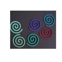 6 Pieces 96 COE Glass SPIRALS on Thin Black Dichroic Glass Great Focals Precuts