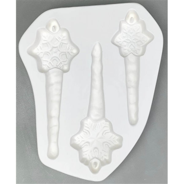 Three Flakes & Icicles Little Fritters 194 Glass Casting Mold Creative Paradise Fusing