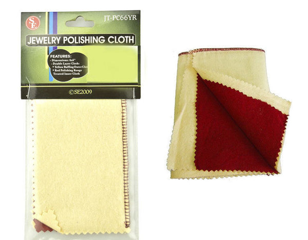 "Double Sided Jewelry Polishing Cloth 6x6"" Red Rouge Yellow Buffing SE Tools"