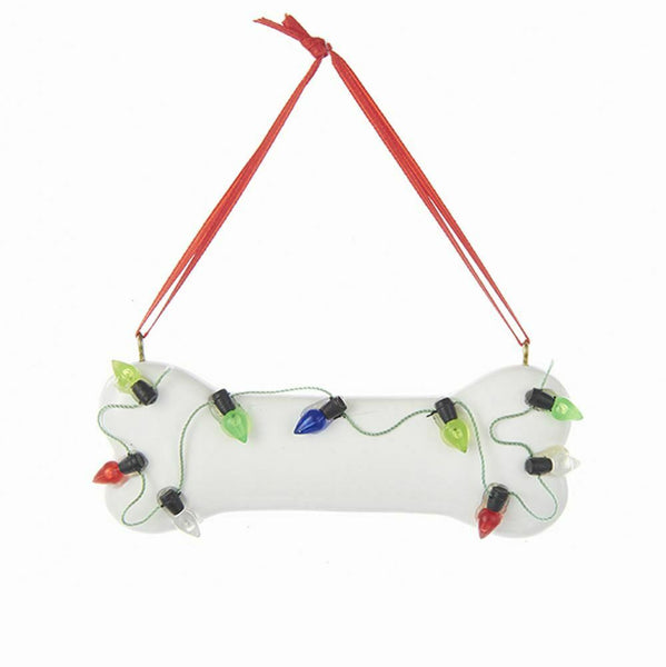 Dog Bone with Christmas Lights PERSONALIZED FREE Ornament Puppy Resin 4""