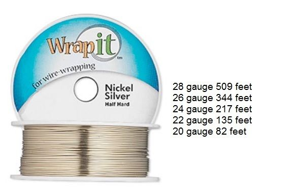 WrapIt! Wrap It Nickle Silver Half Hard Wrapping Wire 28 26 24 22 20 ga Round