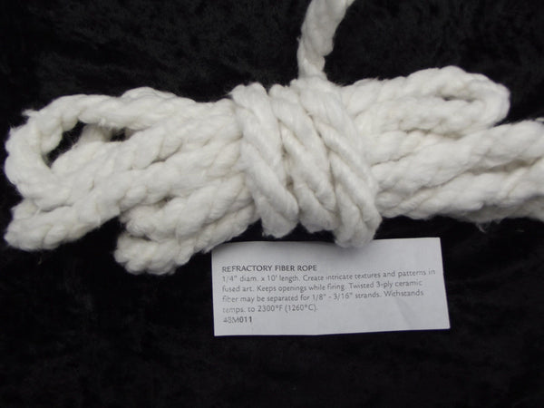 "Ten Feet 10' TWISTED FIBER ROPE Fusing Supplies 1/4"" 9 Strand  2300 degrees"