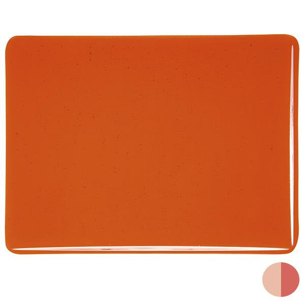"1125 Orange Striker Transparent Bullseye 90 COE Glass Sheet 10x10"" 90COE Fusible 001125-0030-F-1010"
