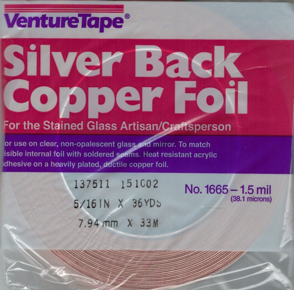 "SILVER Backed Copper Foil 5/16"" x 36 yds 1.2 mil Pendant Venture Tape 1665 516"