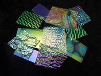 DICHROIC GLASS 8 oz Mix Color Texture on Clear 96 COE SCRAP Great Mix Patterns