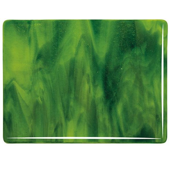 "2121 Yellow Opalescent, Deep Forest Green Transparent 2-Color Mix Bullseye 90 COE Glass Sheet 10x10"" 90COE Fusible"