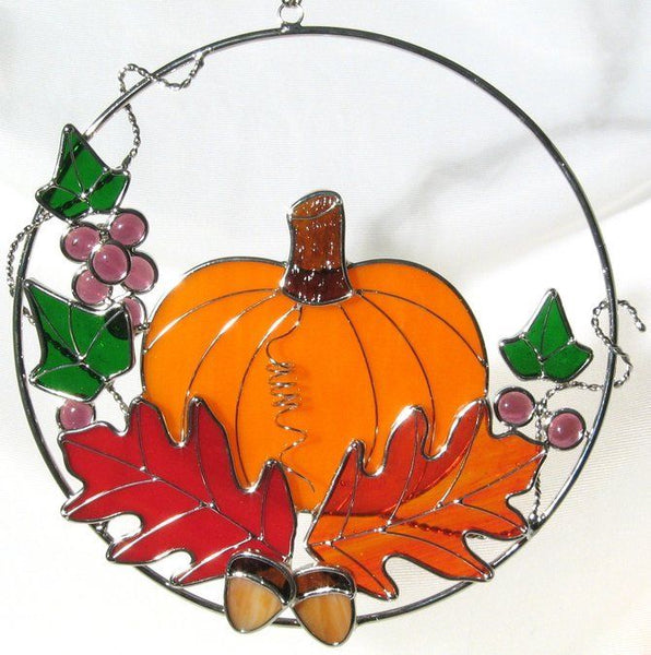 "PUMPKIN RING KIT Studio One Art Glass Precut Kit 9827 Fall 8"" Read Ad"